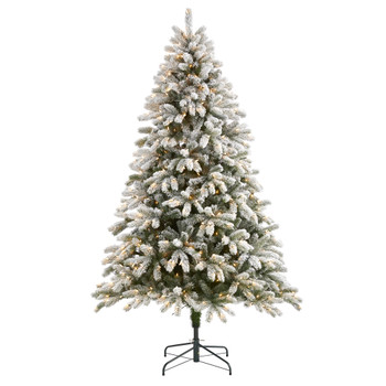 7.5 Flocked South Carolina Spruce Artificial Christmas Tree with 600 Clear Lights and 1537 Bendable Branches - SKU #T1877