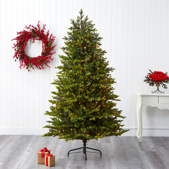 7 North Carolina Fir Artificial Christmas Tree with 550 Clear Lights and 3703 Bendable Branches - SKU #T1892