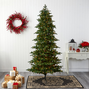8 South Carolina Fir Artificial Christmas Tree with 650 Clear Lights and 2598 Bendable Branches - SKU #T1894