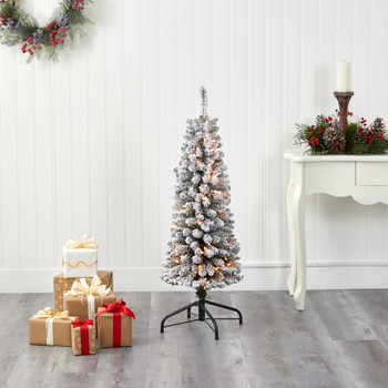 4 Flocked Pencil Artificial Christmas Tree with 100 Clear Lights and 216 Bendable Branches - SKU #T1904