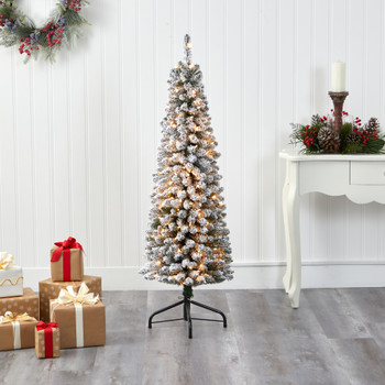 5 Flocked Pencil Artificial Christmas Tree with 200 Clear Lights and 318 Bendable Branches - SKU #T1905