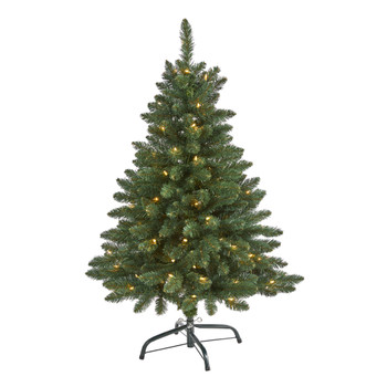 4 Northern Rocky Spruce Artificial Christmas Tree with 100 Clear Lights and 268 Bendable Branches - SKU #T1912