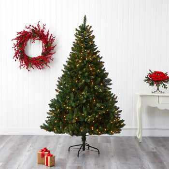 7 Northern Rocky Spruce Artificial Christmas Tree with 400 Clear Lights and 1330 Bendable Branches - SKU #T1915