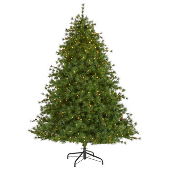7 Colorado Mountain Pine Artificial Christmas Tree with 450 Clear Lights 1453 Bendable Branches and Pine Cones - SKU #T1919