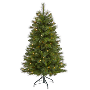 4 West Virginia Mountain Pine Artificial Christmas Tree with 100 Clear Lights and 322 Bendable Branches - SKU #T1923