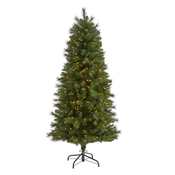 6 Slim West Virginia Mountain Pine Artificial Christmas Tree with 300 Clear Lights and 629 Bendable Branches - SKU #T1924