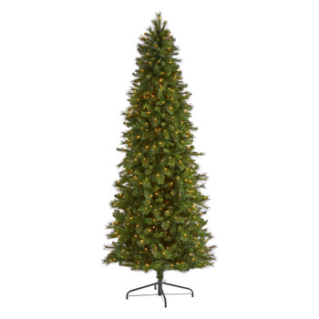 9 Slim West Virginia Mountain Pine Artificial Christmas Tree with 600 Clear Lights and 1359 Bendable Branches - SKU #T1926