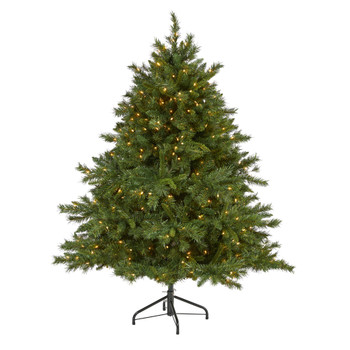 6 Wyoming Mixed Pine Artificial Christmas Tree with 450 Clear Lights and 1090 Bendable Branches - SKU #T1929