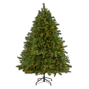 7 Wyoming Mixed Pine Artificial Christmas Tree with 550 Clear Lights and 1054 Bendable Branches - SKU #T1930