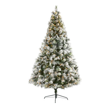8 Flocked Oregon Pine Artificial Christmas Tree with 500 Clear Lights and 1172 Bendable Branches - SKU #T1938