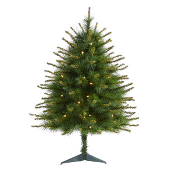 3 New England Pine Artificial Christmas Tree with 50 Clear Lights and 117 Bendable Branches - SKU #T1940