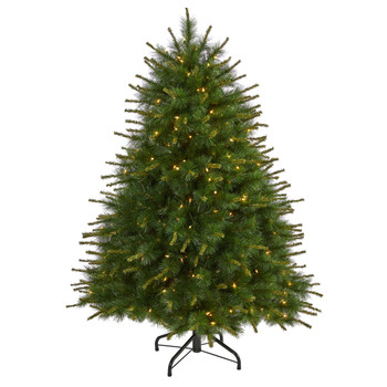 5 New England Pine Artificial Christmas Tree with 200 Clear Lights and 492 Bendable Branches - SKU #T1941
