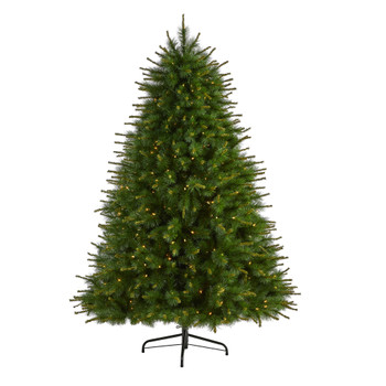 7 New England Pine Artificial Christmas Tree with 400 Clear Lights and 1044 Bendable Branches - SKU #T1942