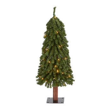 3 Grand Alpine Artificial Christmas Tree with 50 Clear Lights and 193 Bendable Branches on Natural Trunk - SKU #T1943