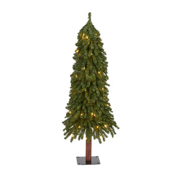 4 Grand Alpine Artificial Christmas Tree with 100 Clear Lights and 361 Bendable Branches on Natural Trunk - SKU #T1944