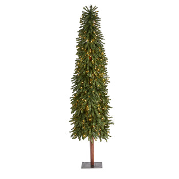 7 Grand Alpine Artificial Christmas Tree with 400 Clear Lights and 950 Bendable Branches on Natural Trunk - SKU #T1947