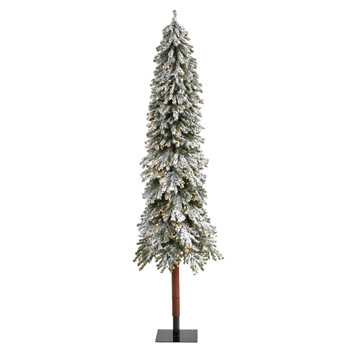 8 Flocked Grand Alpine Artificial Christmas Tree with 500 Lights and 1051 Branches on Natural Trunk - SKU #T1955