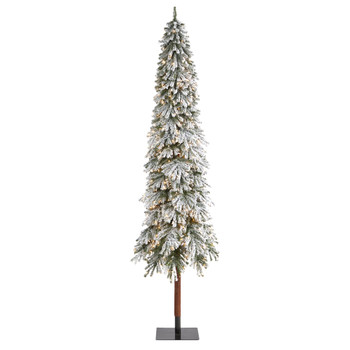 9 Flocked Grand Alpine Artificial Christmas Tree with 600 Lights and 1183 Branches on Natural Trunk - SKU #T1956