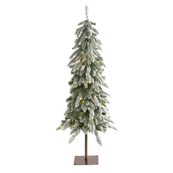 4.5 Flocked Washington Alpine Christmas Artificial Tree with 100 White Warm LED Lights and 285 Bendable Branches - SKU #T1960