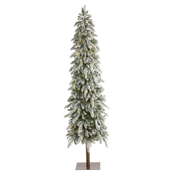 7.5 Flocked Washington Alpine Christmas Artificial Tree with 350 White Warm LED Lights and 877 Bendable Branches - SKU #T1962