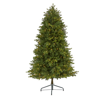 5.5 Washington Fir Artificial Christmas Tree with 300 Clear Lights and 672 Bendable Branches - SKU #T1964