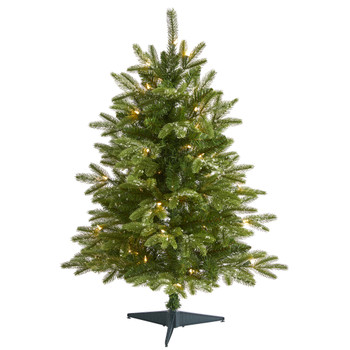 3 Snowed Grand Teton Fir Artificial Christmas Tree with 50 Clear Lights and 111 Bendable Branches - SKU #T1966