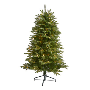 5 Snowed Grand Teton Artificial Christmas Tree with 150 Clear Lights and 462 Bendable Branches - SKU #T1967