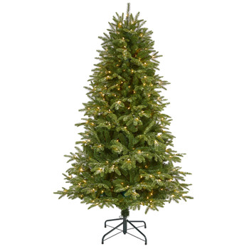 6 Snowed Grand Teton Artificial Christmas Tree with 300 Clear Lights and 730 Bendable Branches - SKU #T1968