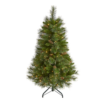 4 Golden Tip Washington Pine Artificial Christmas Tree with 100 Clear Lights Pine Cones and 336 Bendable Branches - SKU #T1970
