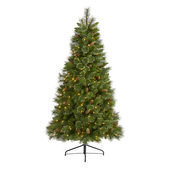6 Golden Tip Washington Pine Artificial Christmas Tree with 250 Clear Lights Pine Cones and 750 Bendable Branches - SKU #T1972