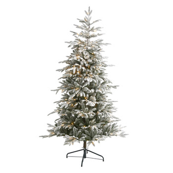 6.5 Flocked Manchester Spruce Artificial Christmas Tree with 300 Lights and 781 Bendable Branches - SKU #T1976