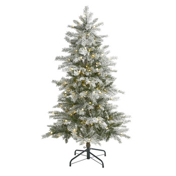 5 Slim Flocked Nova Scotia Spruce Artificial Christmas Tree with 150 Warm White LED Lights and 433 Bendable Branches - SKU #T1977