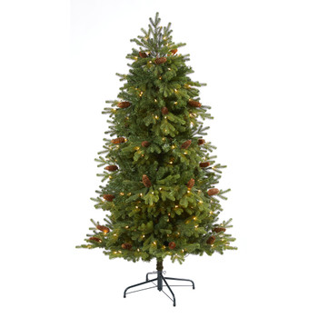 5.5 Yukon Mountain Fir Artificial Christmas Tree with 250 Clear Lights Pine Cones and 800 Bendable Branches - SKU #T1981