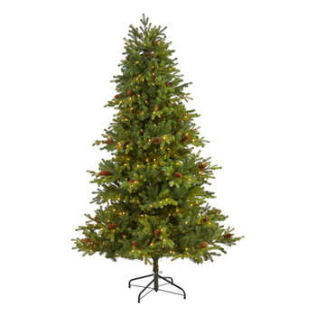 6.5 Yukon Mountain Fir Artificial Christmas Tree with 450 Clear Lights Pine Cones and 1236 Bendable Branches - SKU #T1982