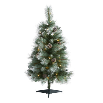 3 Frosted Tip British Columbia Mountain Pine Artificial Christmas Tree with 50 Clear Lights Pine Cones and 112 Bendable Branches - SKU #T1983