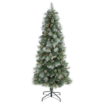 6 Frosted Tip British Columbia Mountain Pine Artificial Christmas Tree with 250 Clear Lights Pine Cones and 588 Bendable Branches - SKU #T1985