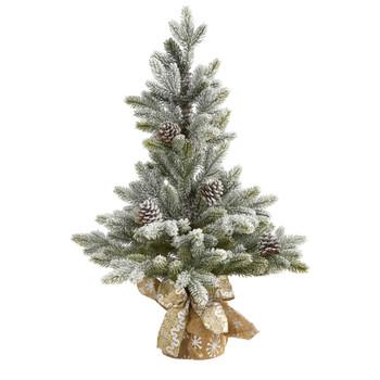 28 Flocked Artificial Christmas Tree with Pine Cones - SKU #T1986