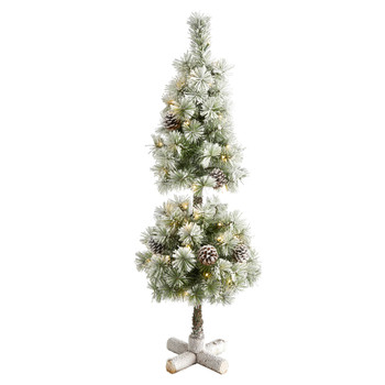 3 Flocked Artificial Christmas Tree Topiary with 50 Warm White LED Lights and Pine Cones - SKU #T1987