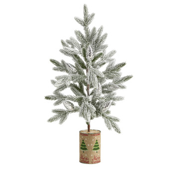 28 Flocked Christmas Artificial Tree in Decorative Planter - SKU #T1988