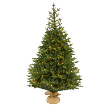 6 Fraser Fir Natural Look Artificial Christmas Tree with 300 Clear LED Lights a Burlap Base and 2113 Bendable Branches - SKU #T1992