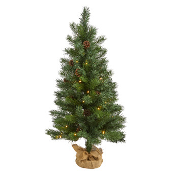 3 Fraser Fir Natural Look Artificial Christmas Tree with 50 Clear LED Lights Pinecones a Burlap Base and 90 Bendable Branches - SKU #T1993