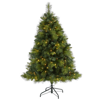 5 North Carolina Mixed Pine Artificial Christmas Tree with 200 Warm White LED Lights 711 Bendable Branches and Pinecones - SKU #T1995
