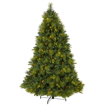 6.5 North Carolina Mixed Pine Artificial Christmas Tree with 350 Warm White LED Lights 1367 Bendable Branches and Pinecones - SKU #T1996