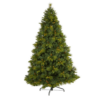 7.5 North Carolina Mixed Pine Artificial Christmas Tree with 470 Warm White LED Lights 1895 Bendable Branches and Pinecones - SKU #T1997