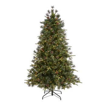 6 Snowed Tipped Clermont Mixed Pine Artificial Christmas Tree with 250 Clear LED Lights Pine Cones and 1242 Bendable Branches - SKU #T1998