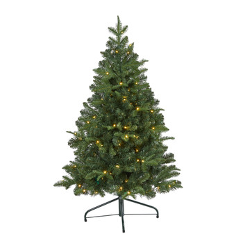 4 Grand Teton Spruce Flat Back Artificial Christmas Tree with 90 Clear LED Lights and 369 Bendable Branches - SKU #T1999