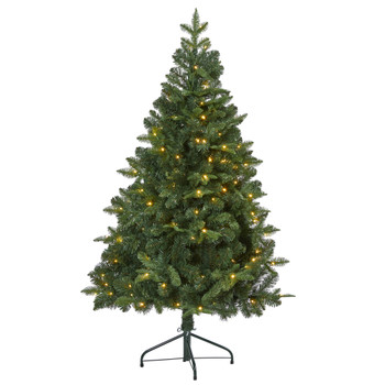 5 Grand Teton Spruce Flat Back Artificial Christmas Tree with 120 Clear LED Lights and 514 Bendable Branches - SKU #T2000