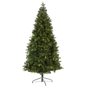 7 Grand Teton Spruce Flat Back Artificial Christmas Tree with 220 Clear LED Lights and 953 Bendable Branches - SKU #T2001