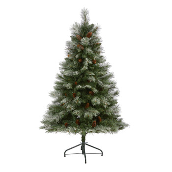 5 Snowed French Alps Mountain Pine Artificial Christmas Tree with 387 Bendable Branches and Pine Cones - SKU #T2004