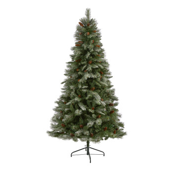 7 Snowed French Alps Mountain Pine Artificial Christmas Tree with 833 Bendable Branches and Pine Cones - SKU #T2005
